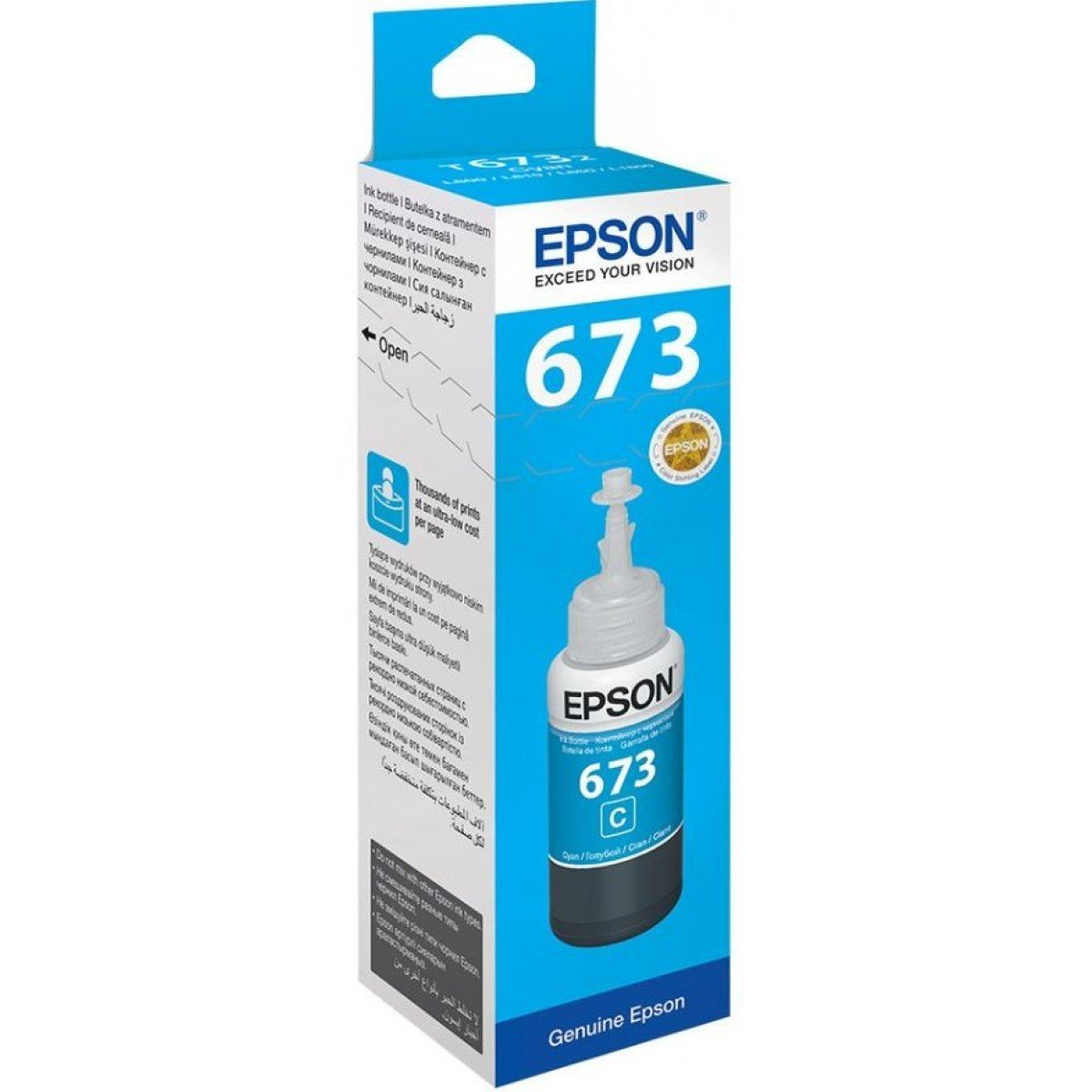 Epson ink Bottle, 673, Cyan, for l800, l805, l810, l850, l1800