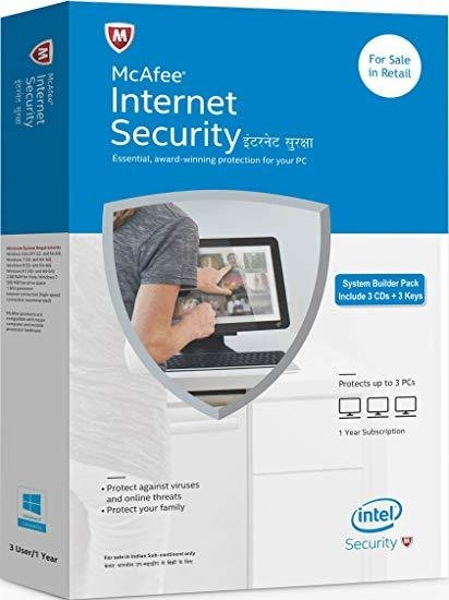 3 User, 1 Year, Mcafee Internet Security