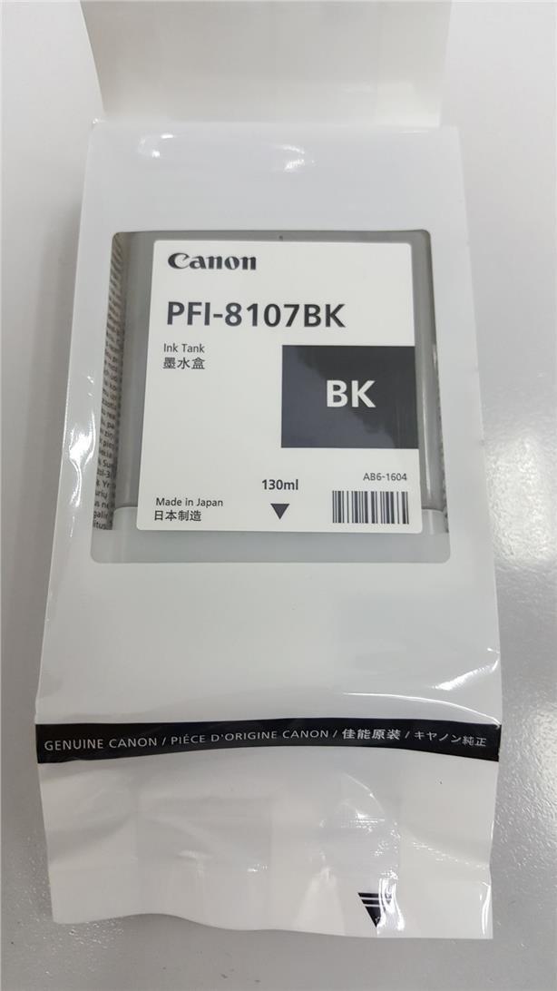 Canon PFI-8107BK Ink Cartridge, Black, 130ml