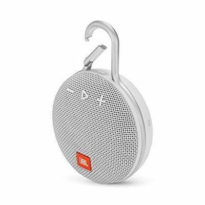 JBL Clip 3 Portable Bluetooth Speaker, White