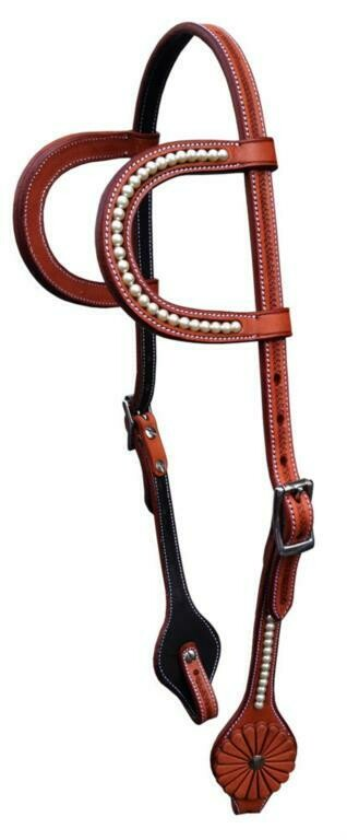 GVR3053R Headstall Swarovski pearls With rosette