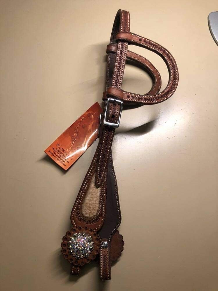 Two Ear Show Headstall with Cowhide , swarowski Concho's