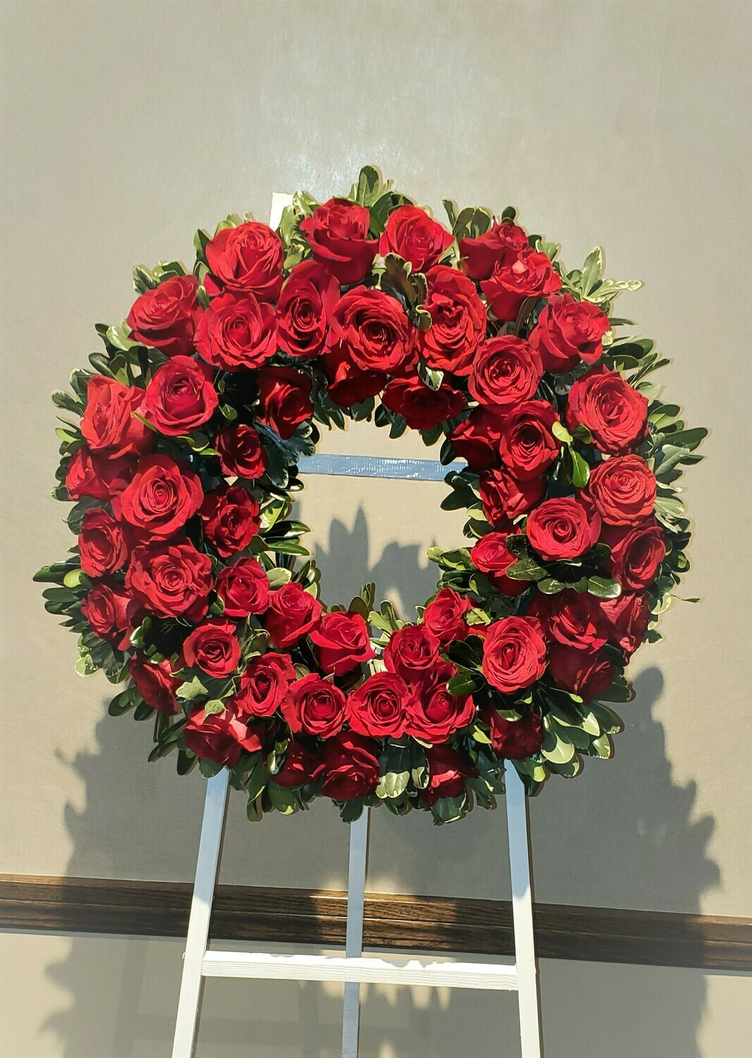 Wreath in Red Roses
