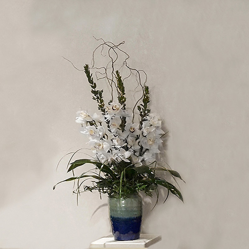 Ceramic Vase with Graceful Orchids