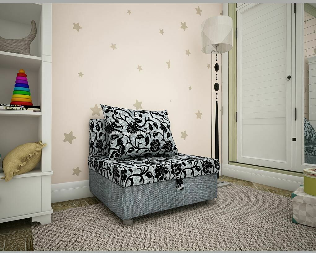 Кресло-кровать тюльпан+рогожка серая