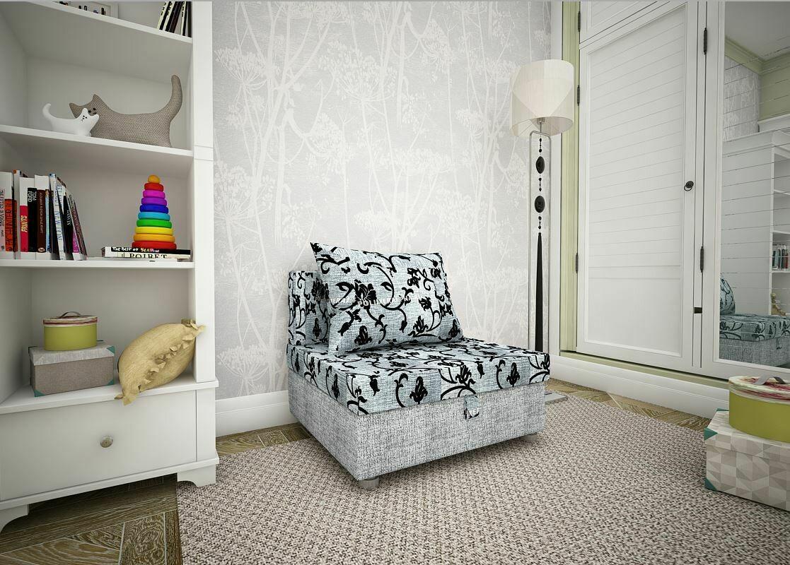 Кресло-кровать тюльпан сер/рогожка серая