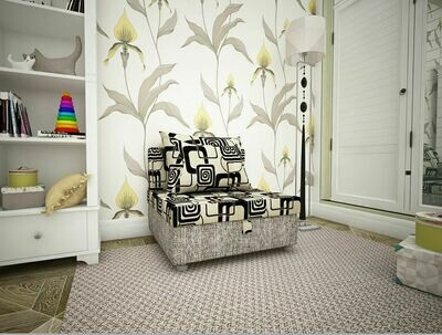 Кресло-кровать квадраты +рогожка