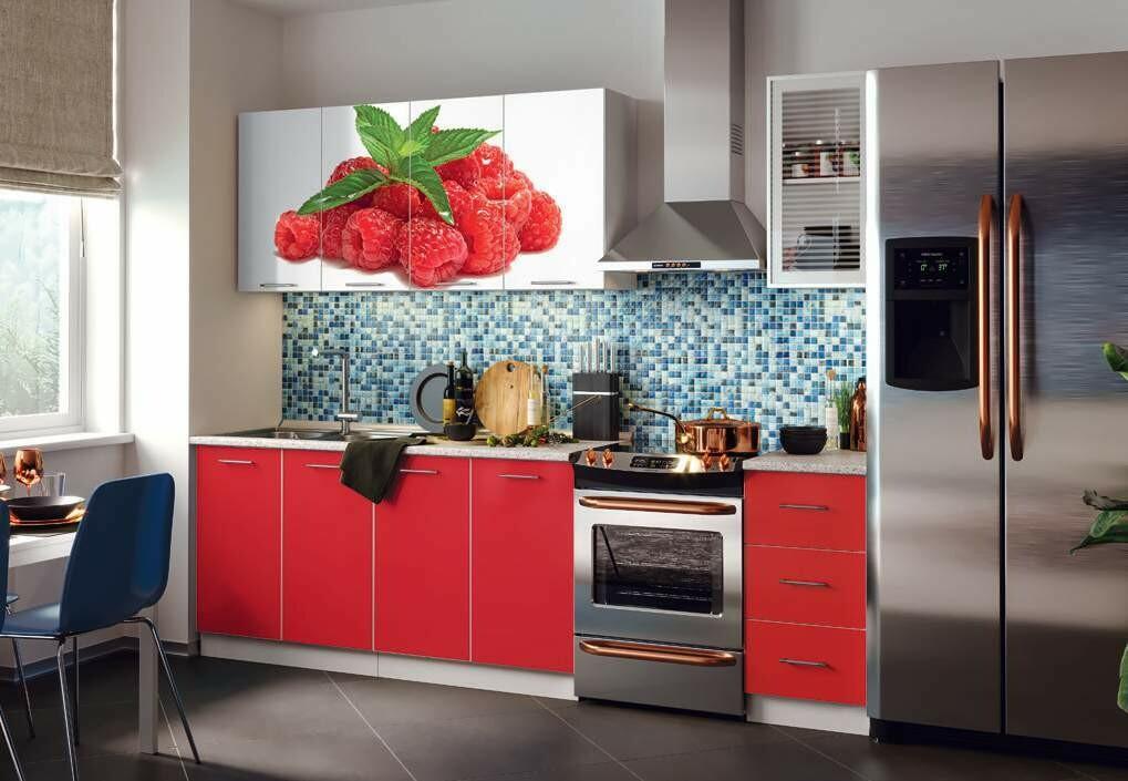 Кухонный гарнитур фотопечать «Клубника»(2 м)