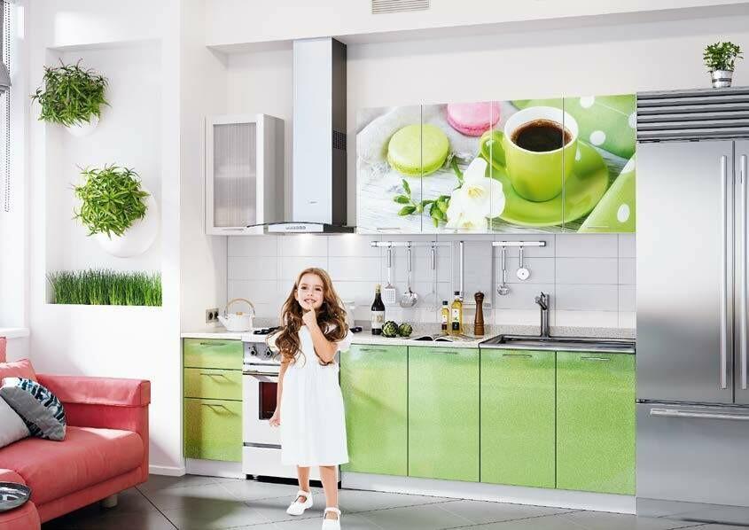 Кухонный гарнитур «Техно» Чашка кофе (2 м)