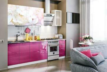 Кухонный гарнитур «Техно» Вишневый цвет (2 м)