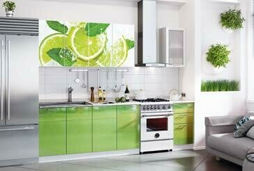 Кухонный гарнитур «Техно» Лайм (2 м)