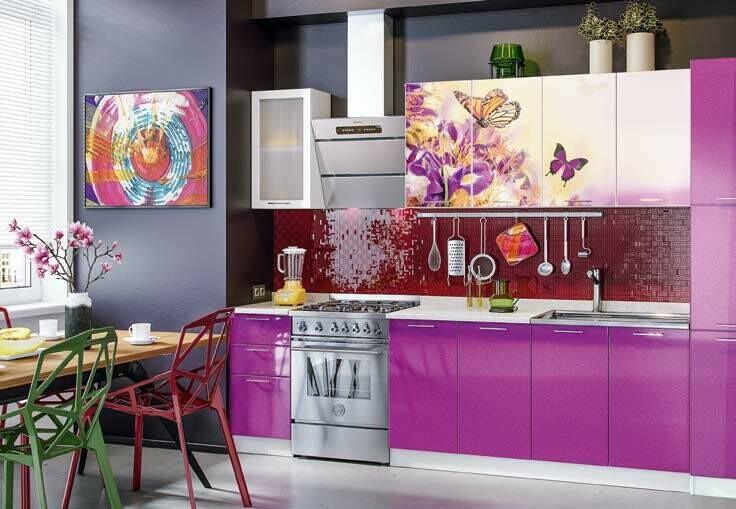 Кухонный гарнитур «Техно» Орхидея фиолет 2 (2 м)