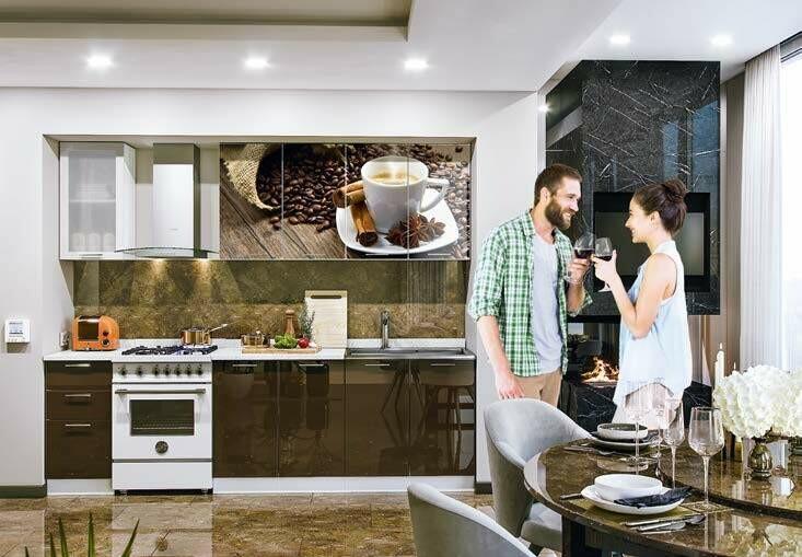 Кухонный гарнитур «Техно» кофе (2 м)