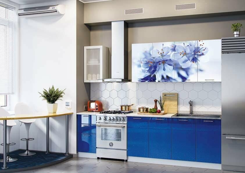 Кухонный гарнитур «Техно» Цветы (2 м)