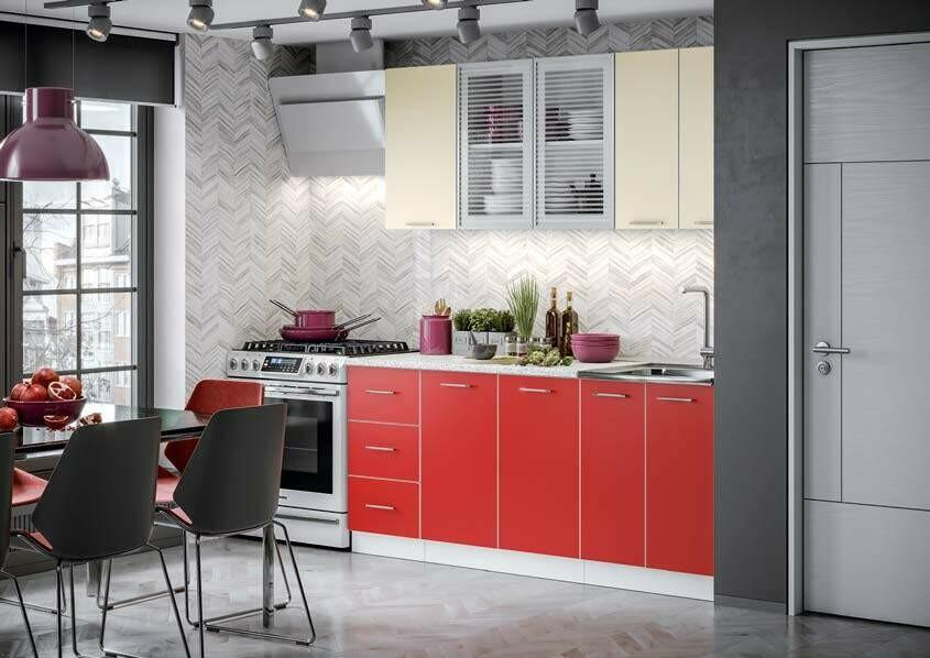 Кухонный гарнитур «Фортуна Беж/Красный» 1,8 м