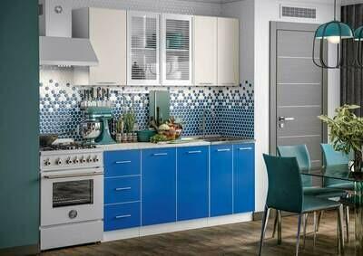 Кухонный гарнитур «Фортуна Беж/Синий» 1,8 м