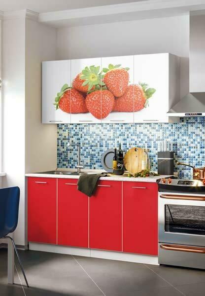 Кухонный гарнитур «Фортуна Клубника» 1,6 м