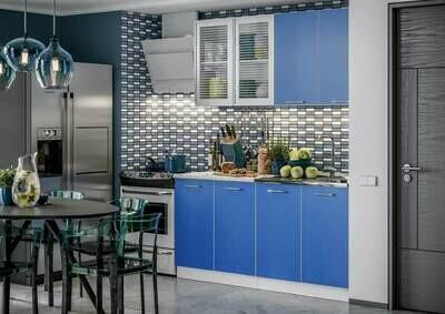 Кухонный гарнитур «Фортуна Беж/Синий» 1,6 м