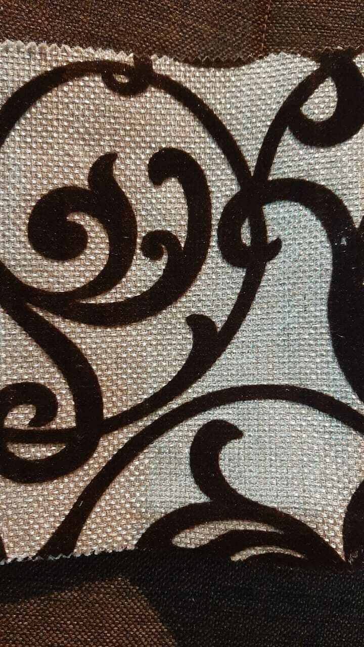 Рогожка с орнаментом Вензеля на бежевом