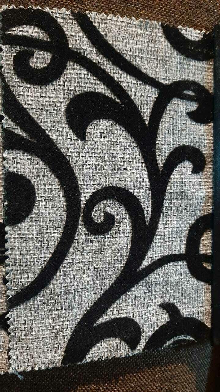 Рогожка с орнаментом Вензеля на  сером