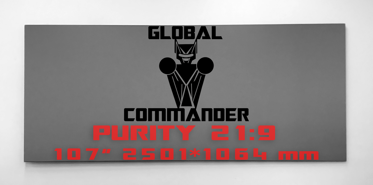 "GLOBAL COMMANDER ""PURITY"" 21:9 107"" - Schermo Videoproiettore 4K / 8K"
