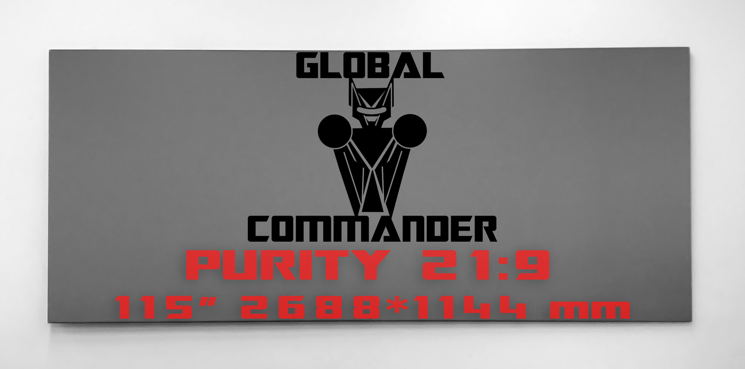 "GLOBAL COMMANDER ""PURITY"" 21:9 115"" - Schermo Videoproiettore 4K / 8K"