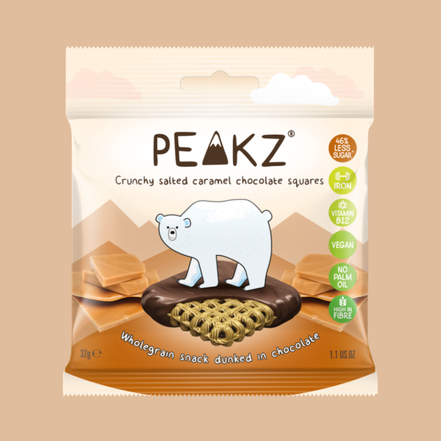 Peakz Chocolate Squares - Salted Caramel Flavour