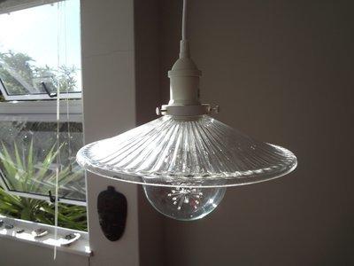 Classic Ribbed Glass Vintage Pendant - 30cm