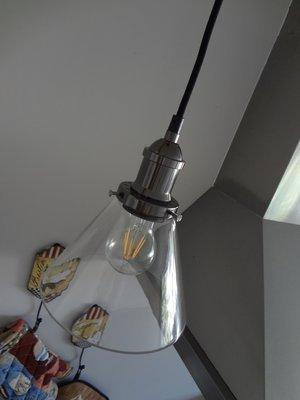 Vintage Glass Funnel Pendant  - 19cm