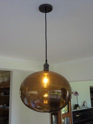Elegant Coffee Glass Globe Pendant - Large