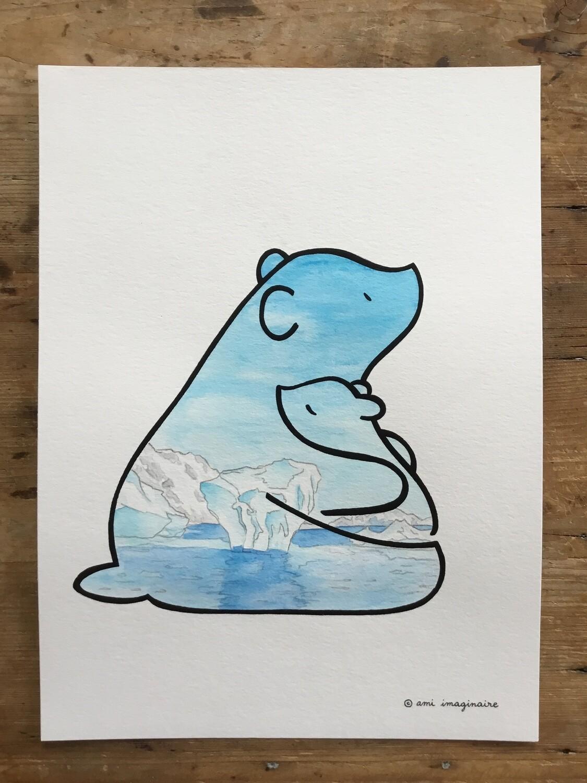 Ours Iceberg - Aquarelle - A4