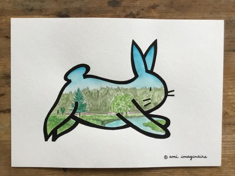 Petit Lapin Campagne - Aquarelle - A5