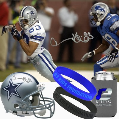 83 KIDS FOUNDATION PACKAGE (Helmet, T-Shirt, Lanyard, License Plate Frame, Koozie, 2 83 Kids Bands) Personalized by Drew Bledsoe & Terry Glenn Jr. in Memory of Terry Glenn Sr.