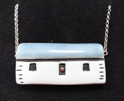 Ceramic bothy necklace - blue roof