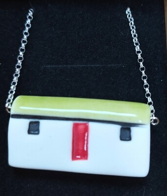 Ceramic bothy necklace - lime green roof