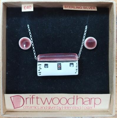 Ceramic bothy necklace & earrings set - deep purple roof