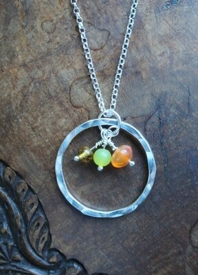 Sunshine necklace - silver with Carnelian, Lemon Jasper & Citrine
