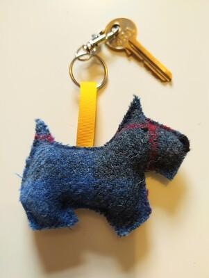 Scottie Dog Harris Tweed keyring/bag charm