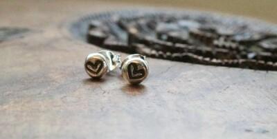 Sterling silver heart nugget stud earrings