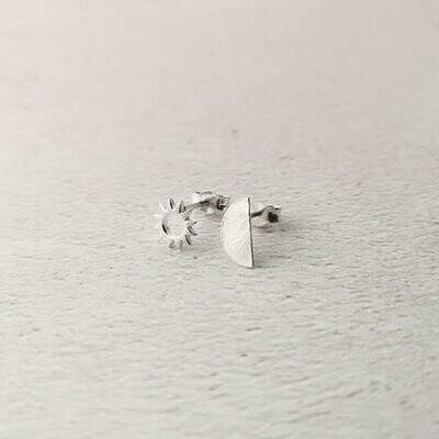 Sterling Silver sun and moon stud earrings