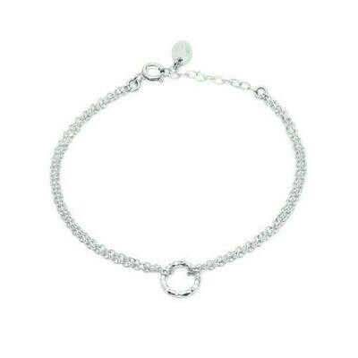 Sterling Silver faceted silver circle 'halo' bracelet