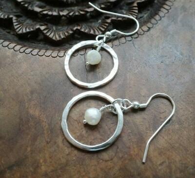 Sterling silver and pearl hoop earrings