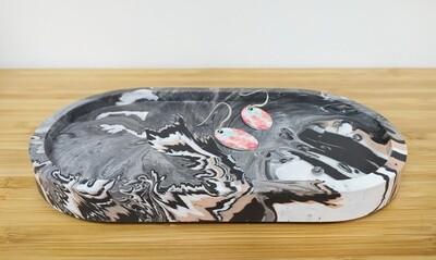Oval Jesmonite tray - black/white/terracotta marble mix