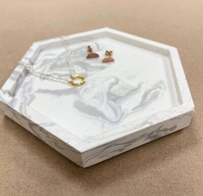 Hexagon Jesmonite tray - pale greys
