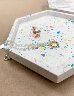 Hexagon Jesmonite tray - white & rainbow mix