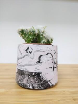 Small Jesmonite plant pot - perfect for cacti/succulents (black/white/pale pink mix)
