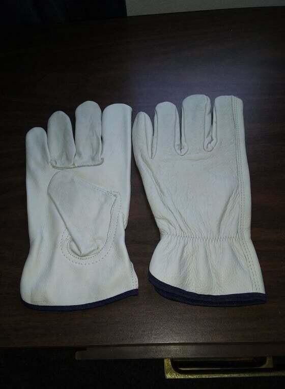 1 Pair -Cowhide Grain Leather Drivers, Work Safety Gloves-  (Medium)