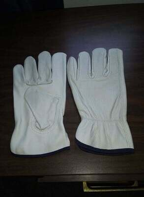 1 Pair -Cowhide Grain Leather Drivers, Work Safety Gloves-  (Large)