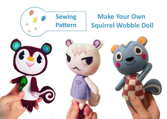 Squirrel Wobble Doll Sewing Pattern