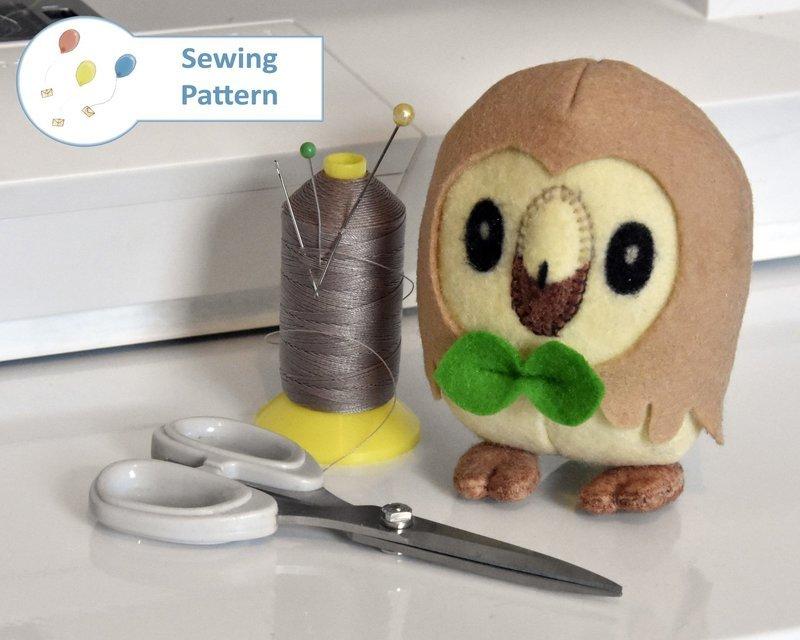 Rowlet Owl Pokemon Starter Sewing Pattern